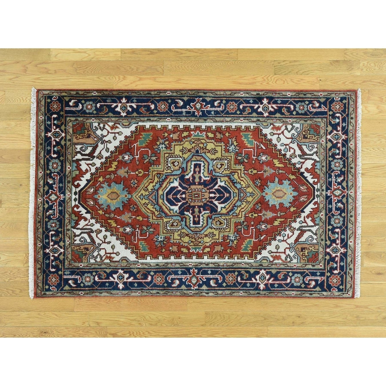 Hand Knotted Red Heriz with Wool Oriental Rug - 310 x 6