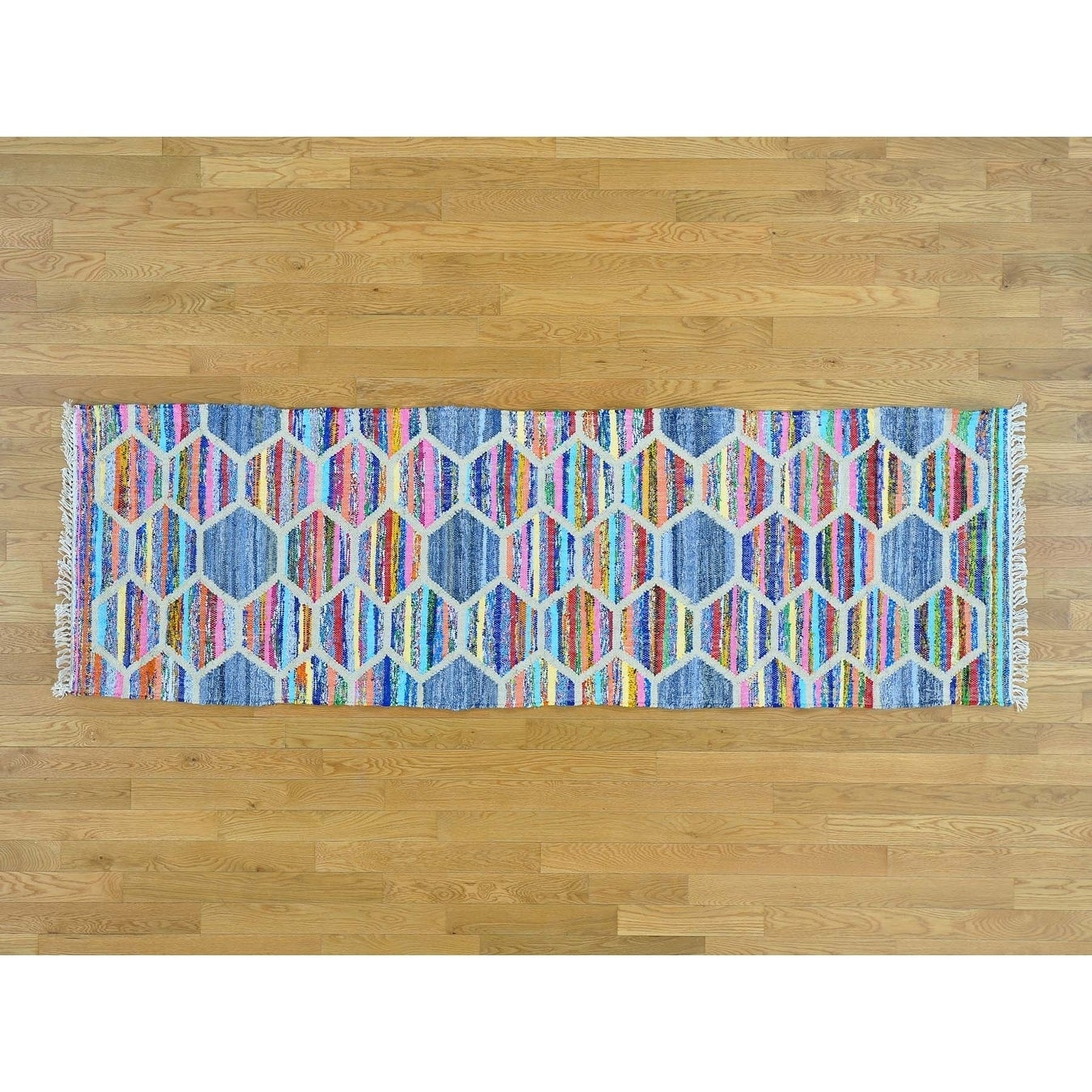 Hand Knotted Multicolored Flat Weave with Cotton Oriental Rug - 27 x 82