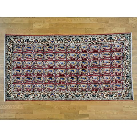 Hand Knotted Red Persian with Wool Oriental Rug - 5'3 x 9'10