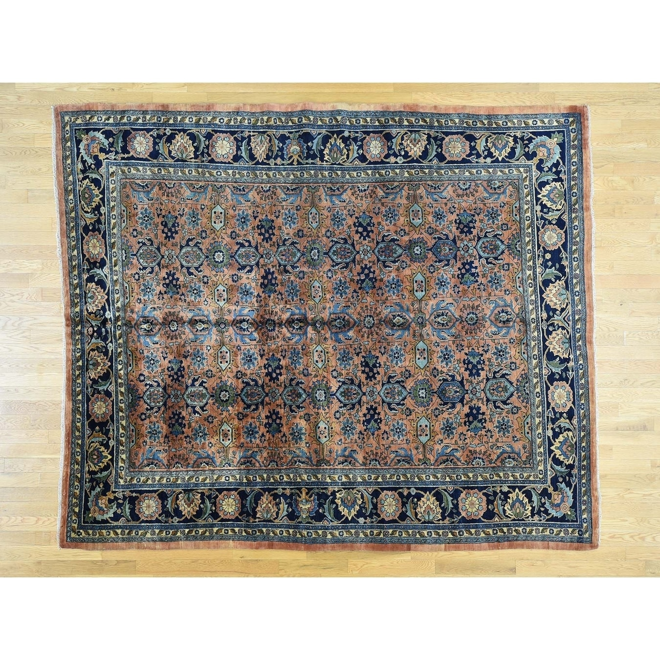 Hand Knotted Pink Antique with Wool Oriental Rug - 86 x 104