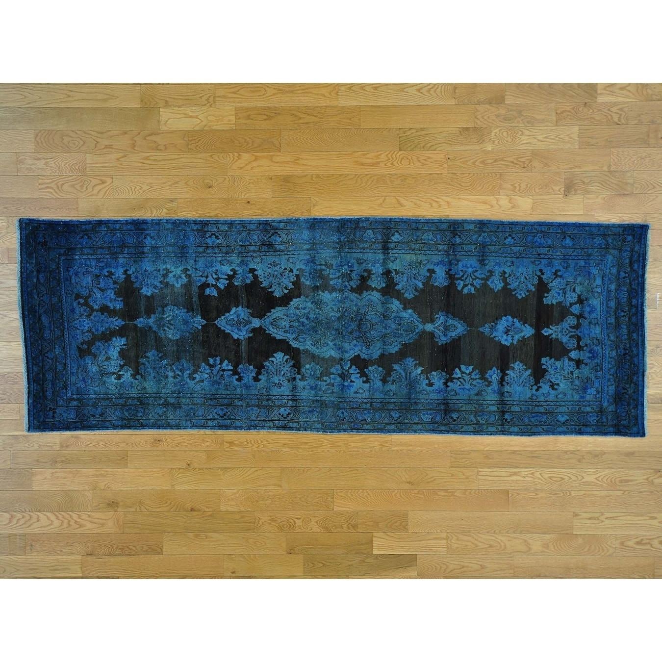 Hand Knotted Black Overdyed & Vintage with Wool Oriental Rug - 39 x 109
