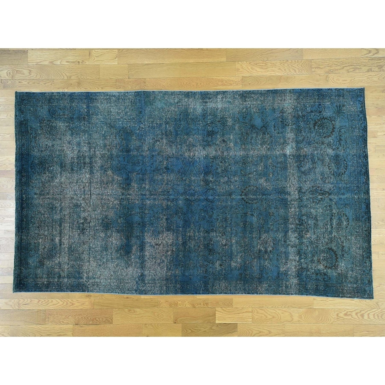 Hand Knotted Blue Overdyed & Vintage with Wool Oriental Rug - 74 x 129