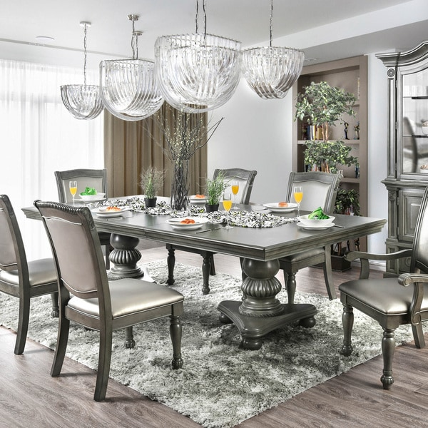 Furniture Of America Shayson Traditional Grey 103 Inch Dining Table With  Leaf