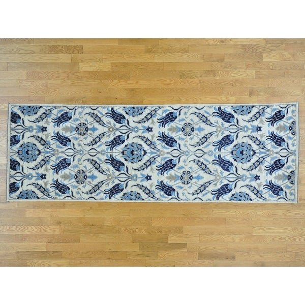 Hand Knotted Ivory Arts And Crafts with Wool Oriental Rug - 4' x 12'