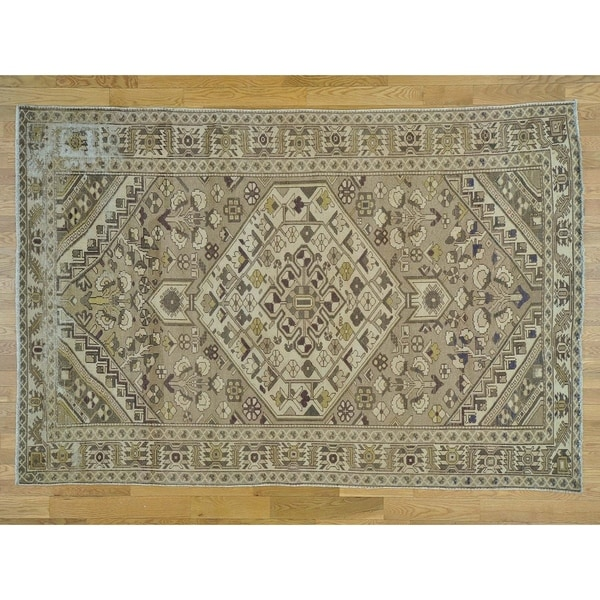 Hand Knotted Beige Overdyed & Vintage with Wool Oriental Rug - 6'6 x 9'9
