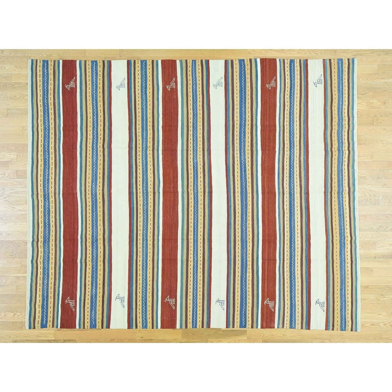 Hand Knotted Multicolored Flat Weave with Wool Oriental Rug - 84 x 102