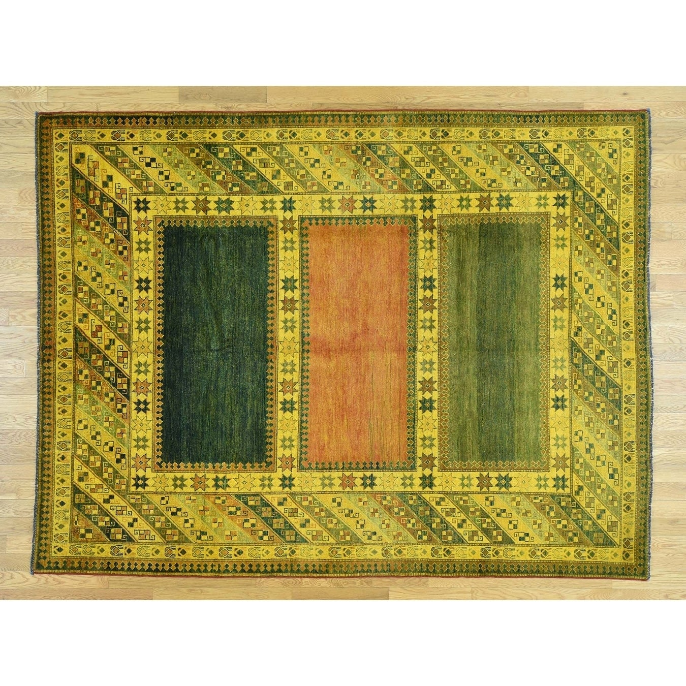 Hand Knotted Yellow Overdyed & Vintage with Wool Oriental Rug - 75 x 98