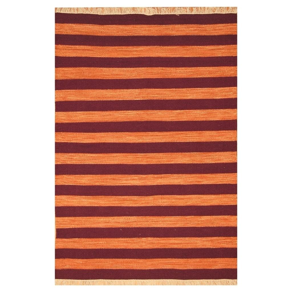Handmade Herat Oriental Indo Hand-woven Tribal Wool Kilim (45 x 67) - 45 x 67 (Orange - 45 x 67)