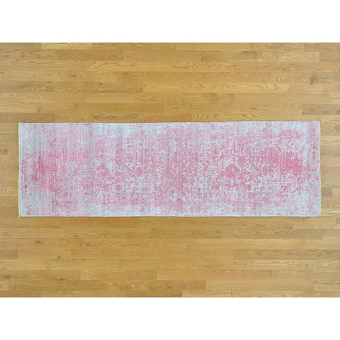 Hand Knotted Pink Modern & Contemporary with Wool & Silk Oriental Rug - 2'6 x 7'9