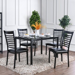 Furniture of America Parker 5-Piece 48-inch Metal Glass Top Dining Table Set