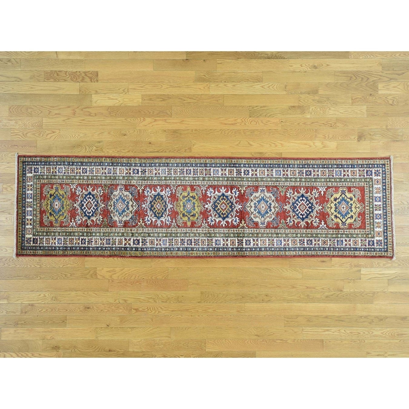 Hand Knotted Red Kazak with Wool Oriental Rug - 27 x 99