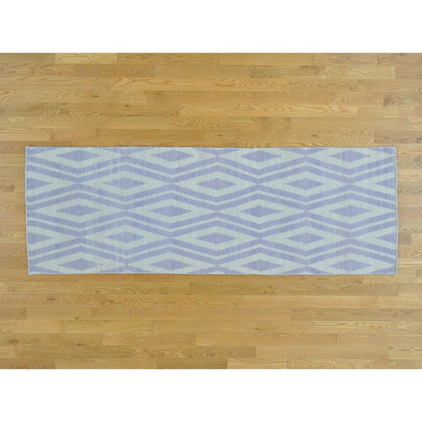 Hand Knotted Ivory Flat Weave with Wool Oriental Rug - 28 x 8