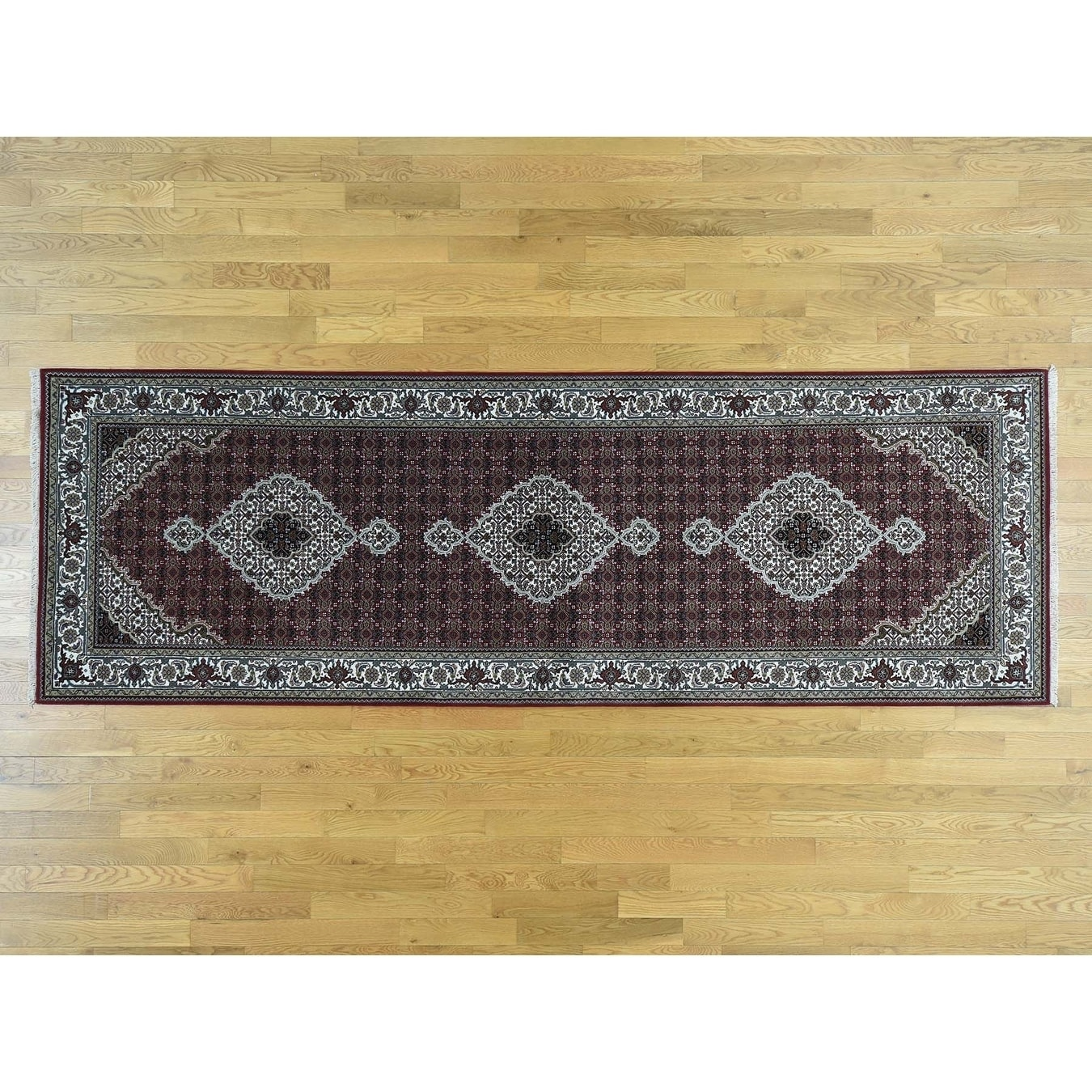 Hand Knotted Red Fine Oriental with Wool & Silk Oriental Rug - 41 x 122