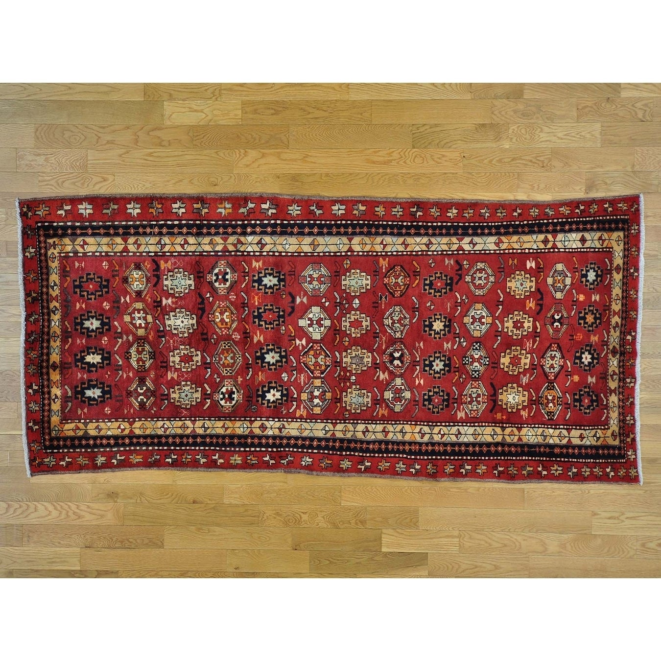 Hand Knotted Red Persian with Wool Oriental Rug - 48 x 103