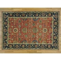 Hand Knotted Red Heriz with Wool Oriental Rug - 6'1 x 9'