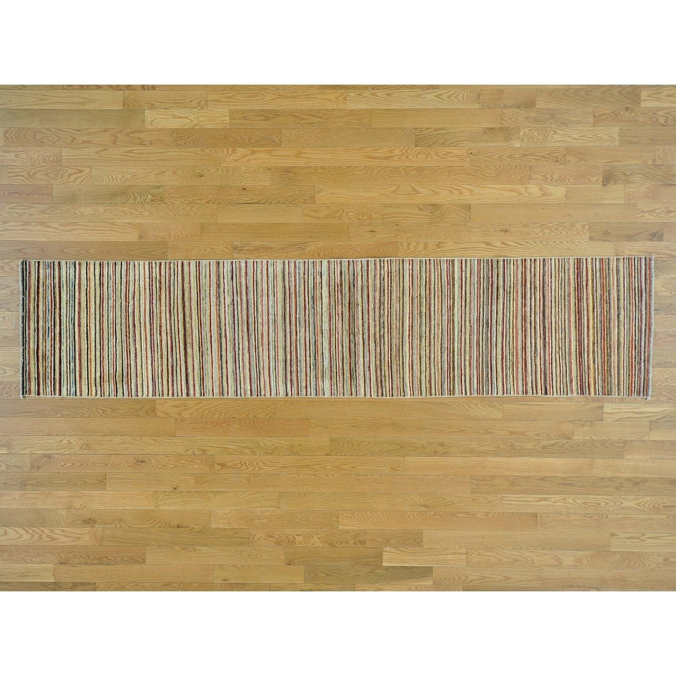 Hand Knotted Multicolored Modern & Contemporary with Wool Oriental Rug - 22 x 98