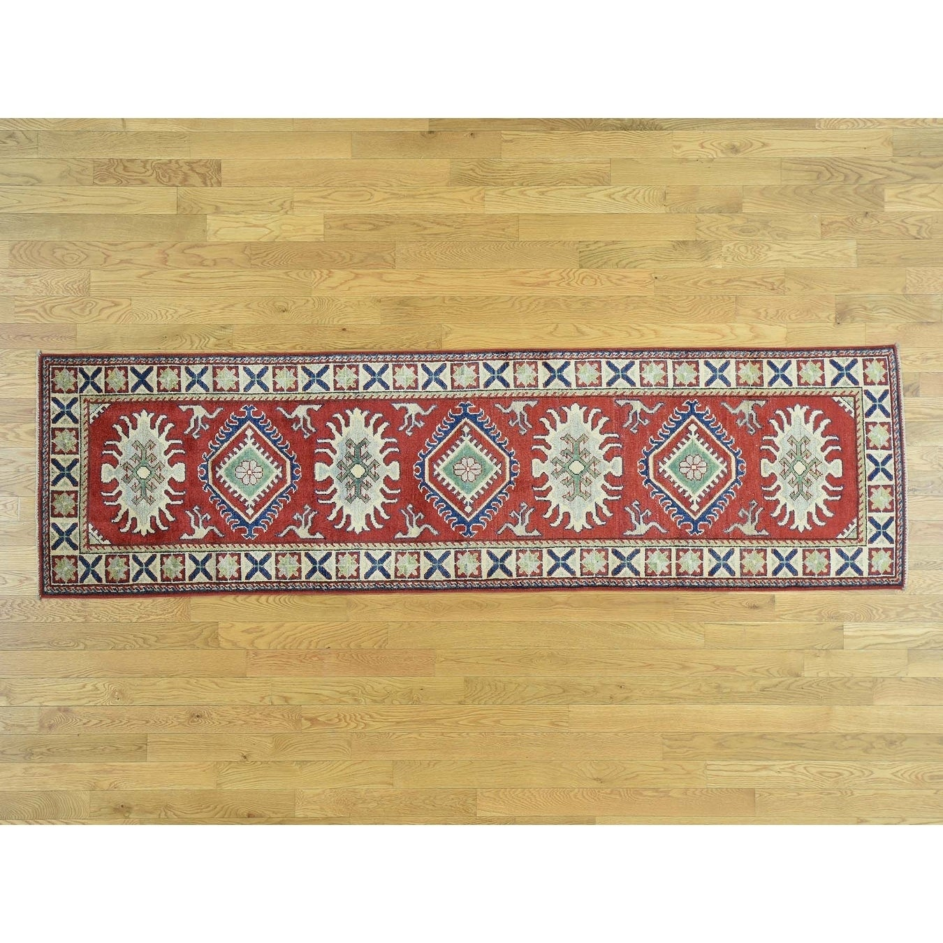 Hand Knotted Red Kazak with Wool Oriental Rug - 28 x 96