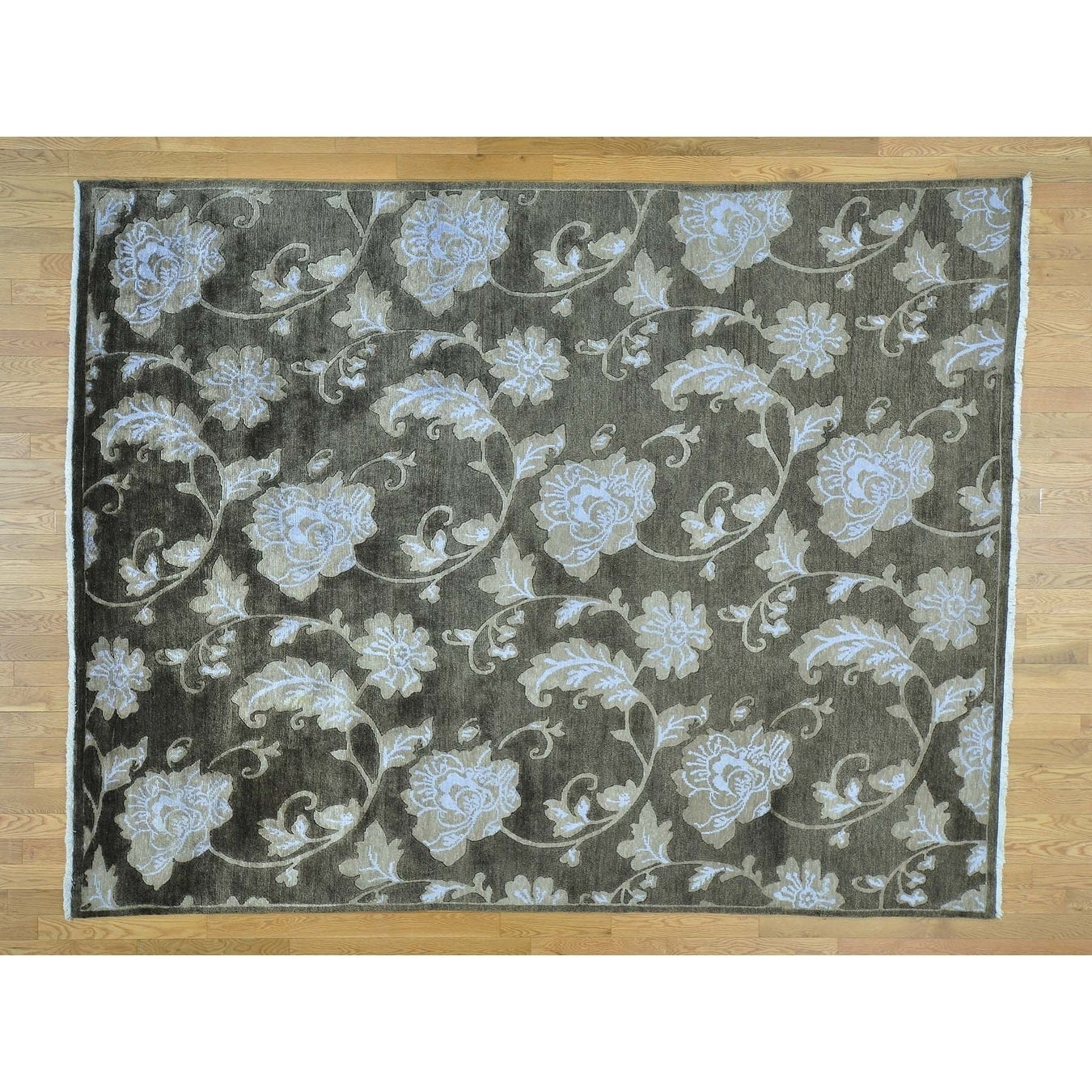 Hand Knotted Grey Modern & Contemporary with Wool & Silk Oriental Rug - 710 x 10