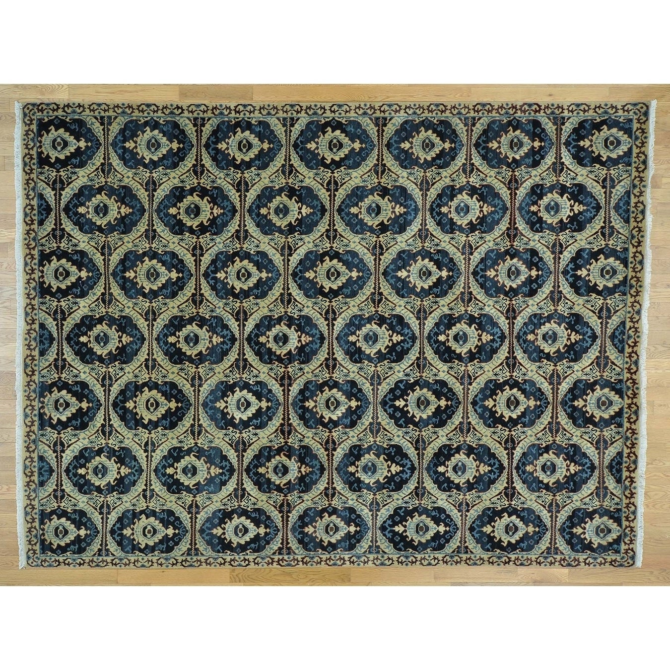 Hand Knotted Beige Ikat And Suzani Design with Wool Oriental Rug - 9 x 12
