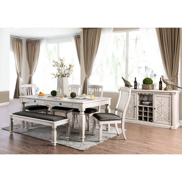 Shop Furniture of America Tyler Rustic Farmhouse Dining Table   Antique  White   On Sale   Free Shipping Today   Overstock   21500973. Shop Furniture of America Tyler Rustic Farmhouse Dining Table