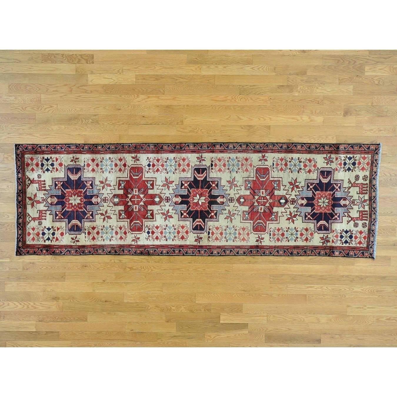 Hand Knotted Ivory Heriz with Wool Oriental Rug - 31 x 10