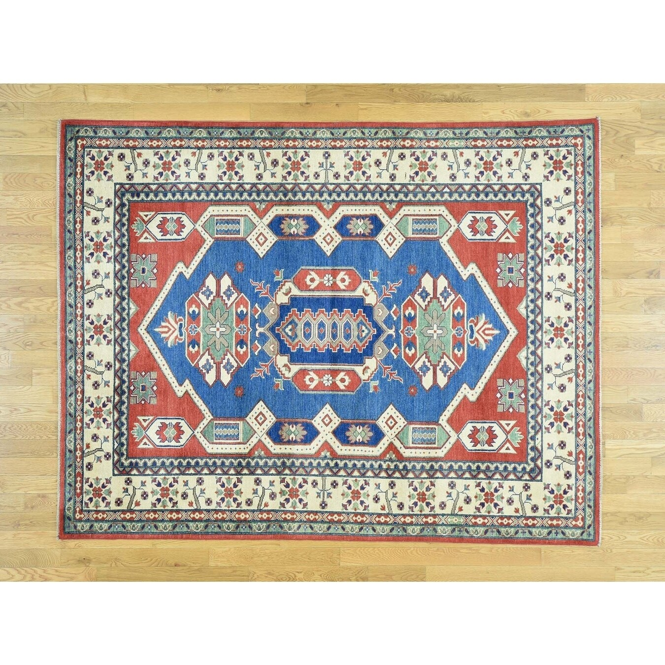 Hand Knotted Blue Kazak with Wool Oriental Rug - 64 x 83