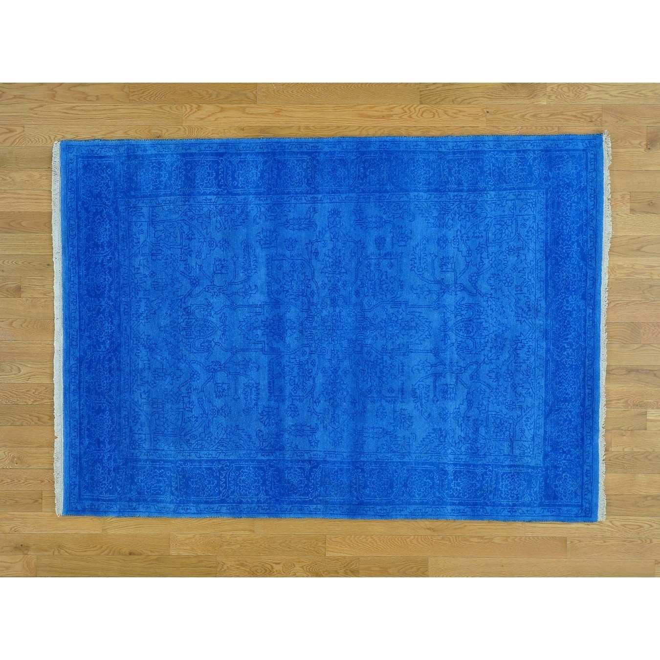 Hand Knotted Blue Heriz with Wool Oriental Rug - 410 x 610