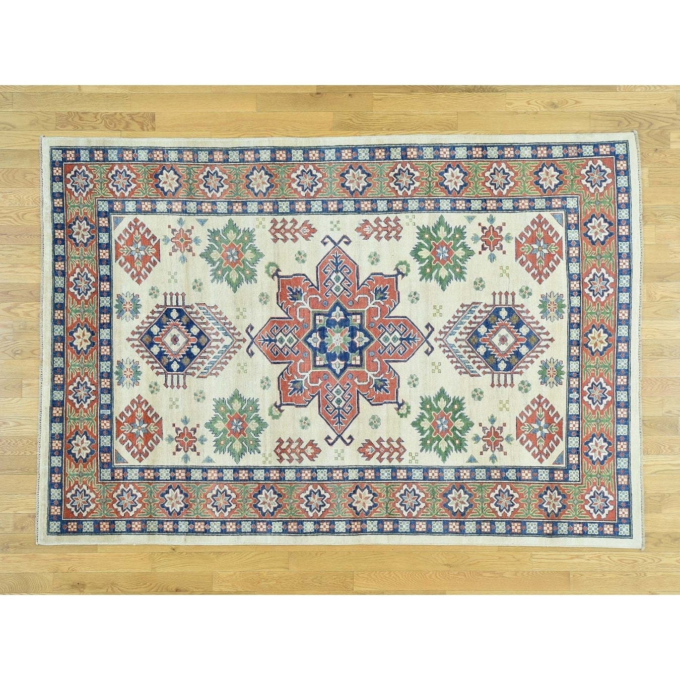 Hand Knotted Ivory Kazak with Wool Oriental Rug - 59 x 86