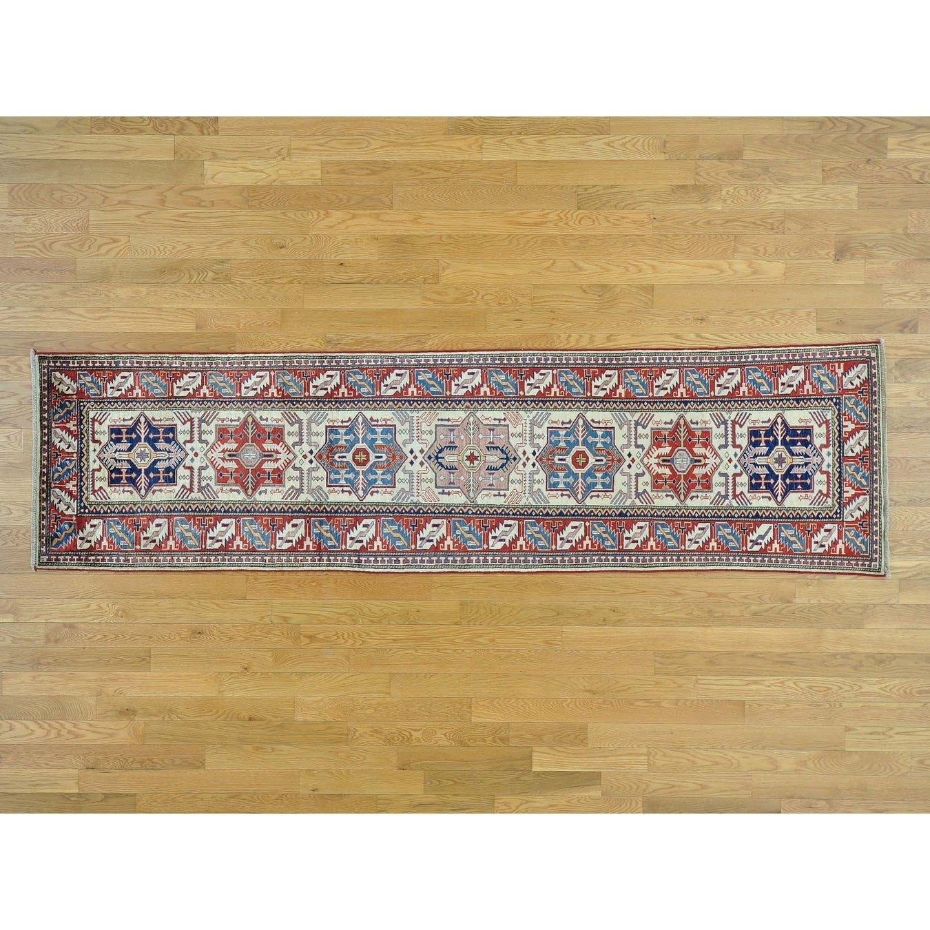 Hand Knotted Ivory Kazak with Wool Oriental Rug - 25 x 94