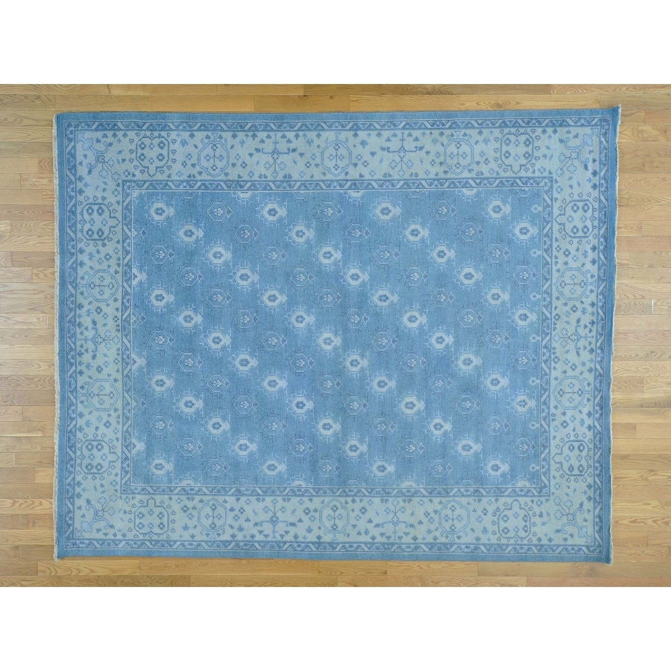 Hand Knotted Blue Oushak And Peshawar with Wool Oriental Rug - 710 x 99