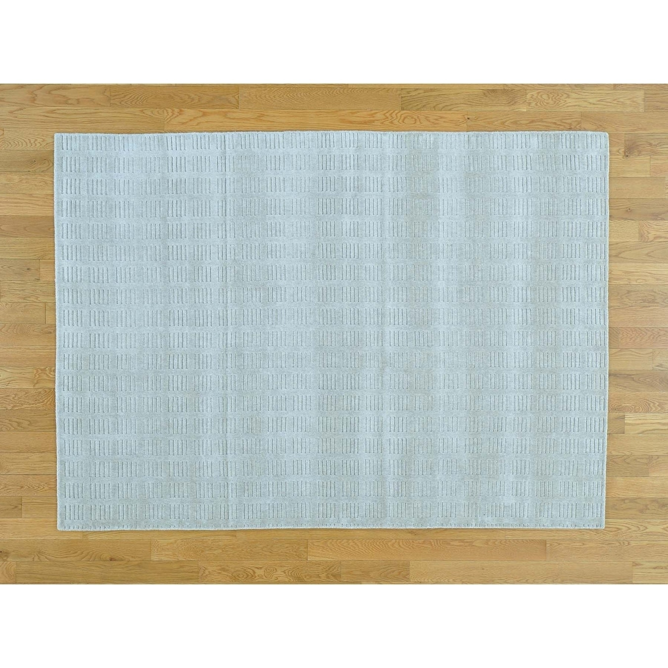 Hand Knotted Grey Modern & Contemporary with Wool & Silk Oriental Rug - 5 x 7