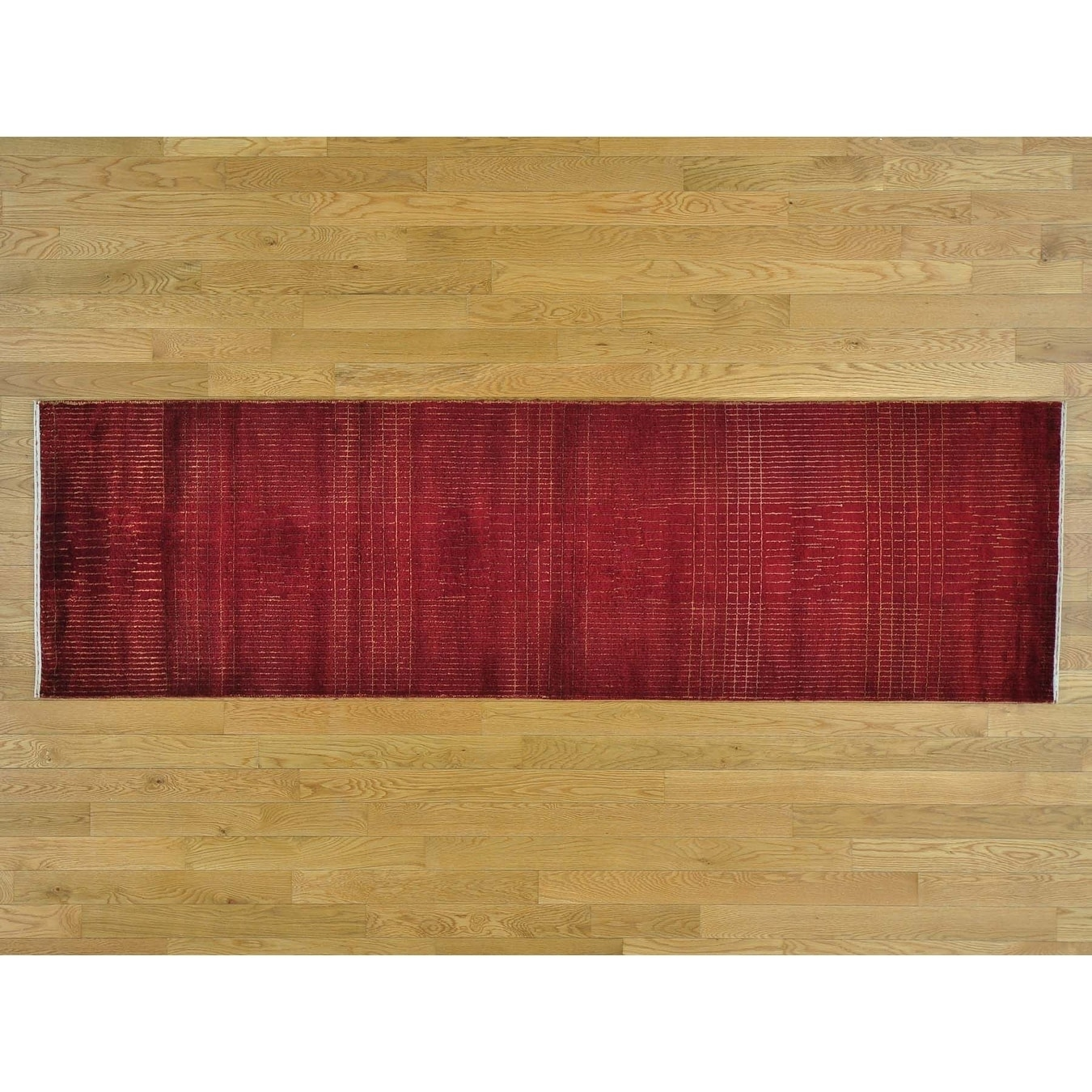 Hand Knotted Red Modern & Contemporary with Wool & Silk Oriental Rug - 25 x 82