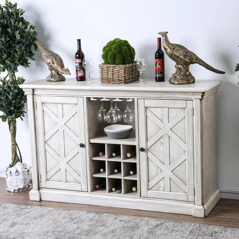 Furniture of America  Hish Rustic White 57-inch Wood Buffet Serverr (Antique White, Gray)