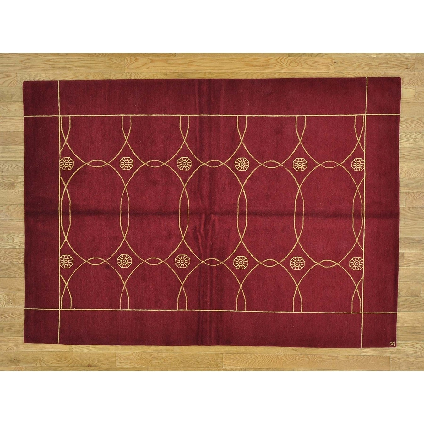 Hand Knotted Red Modern & Contemporary with Wool & Silk Oriental Rug - 5 x 7