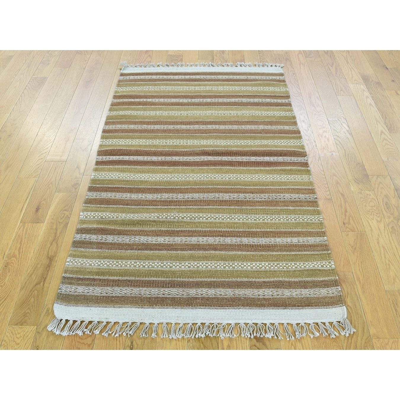 Hand Knotted Multicolored Flat Weave with Wool Oriental Rug - 29 x 51