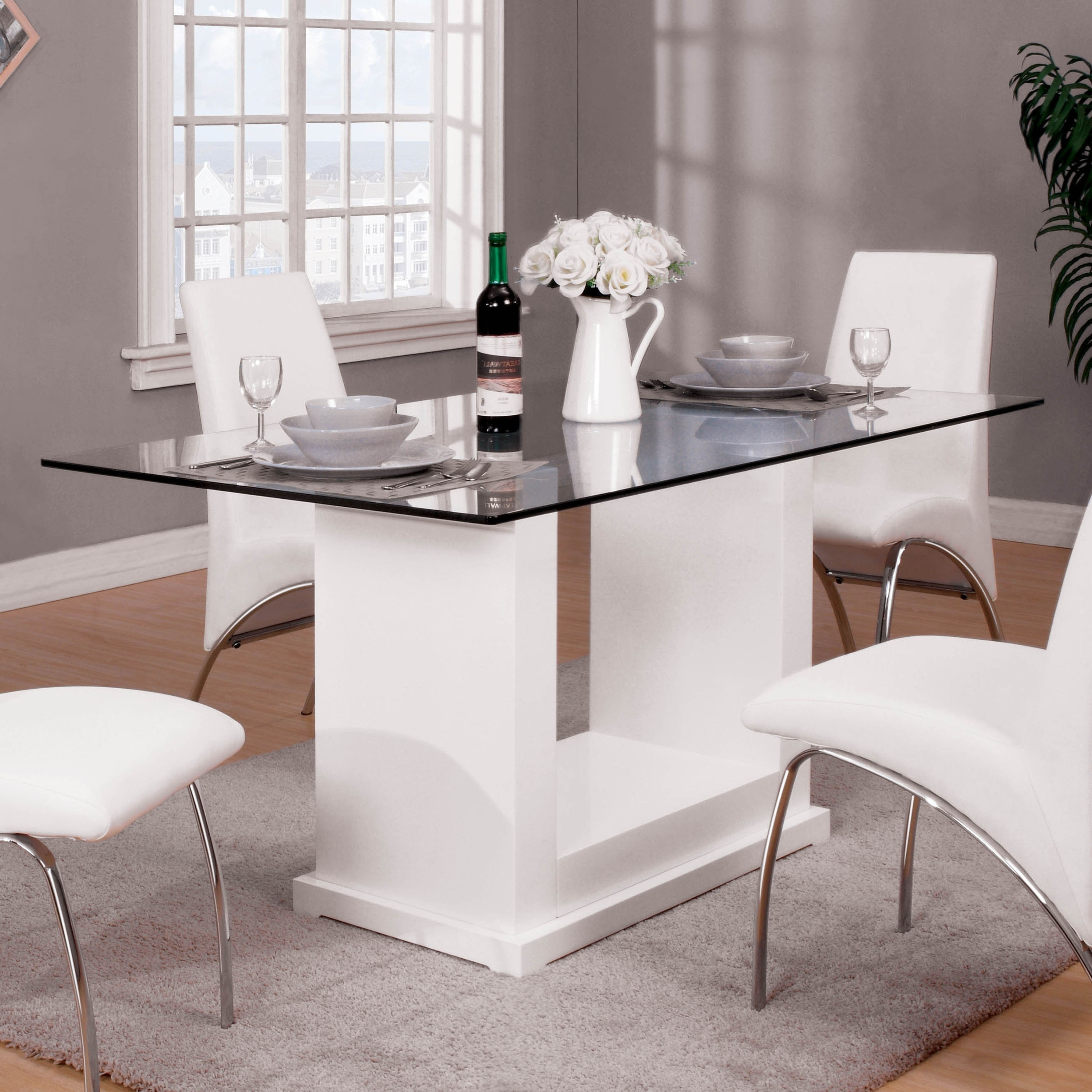 Furniture Of America Jem Contemporary White Wood Dining Table On Sale Overstock 21501079