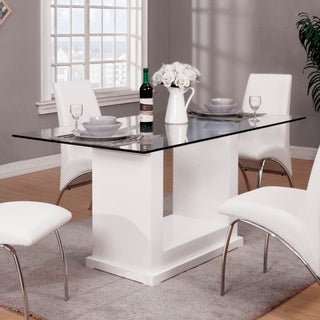 Furniture of America Grant Contemporary White Glass Dining Table - N/A