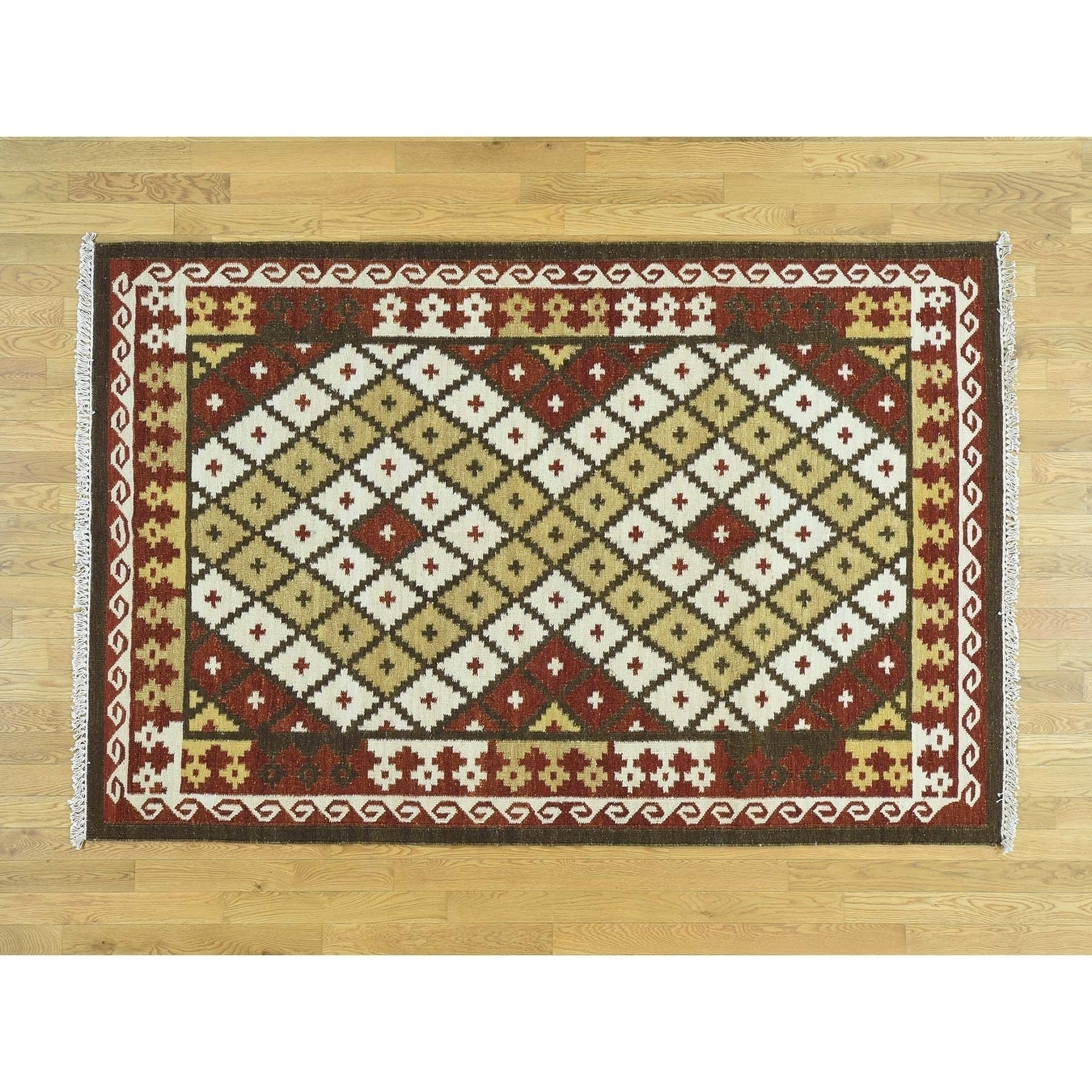 Hand Knotted Multicolored Flat Weave with Wool Oriental Rug - 53 x 8