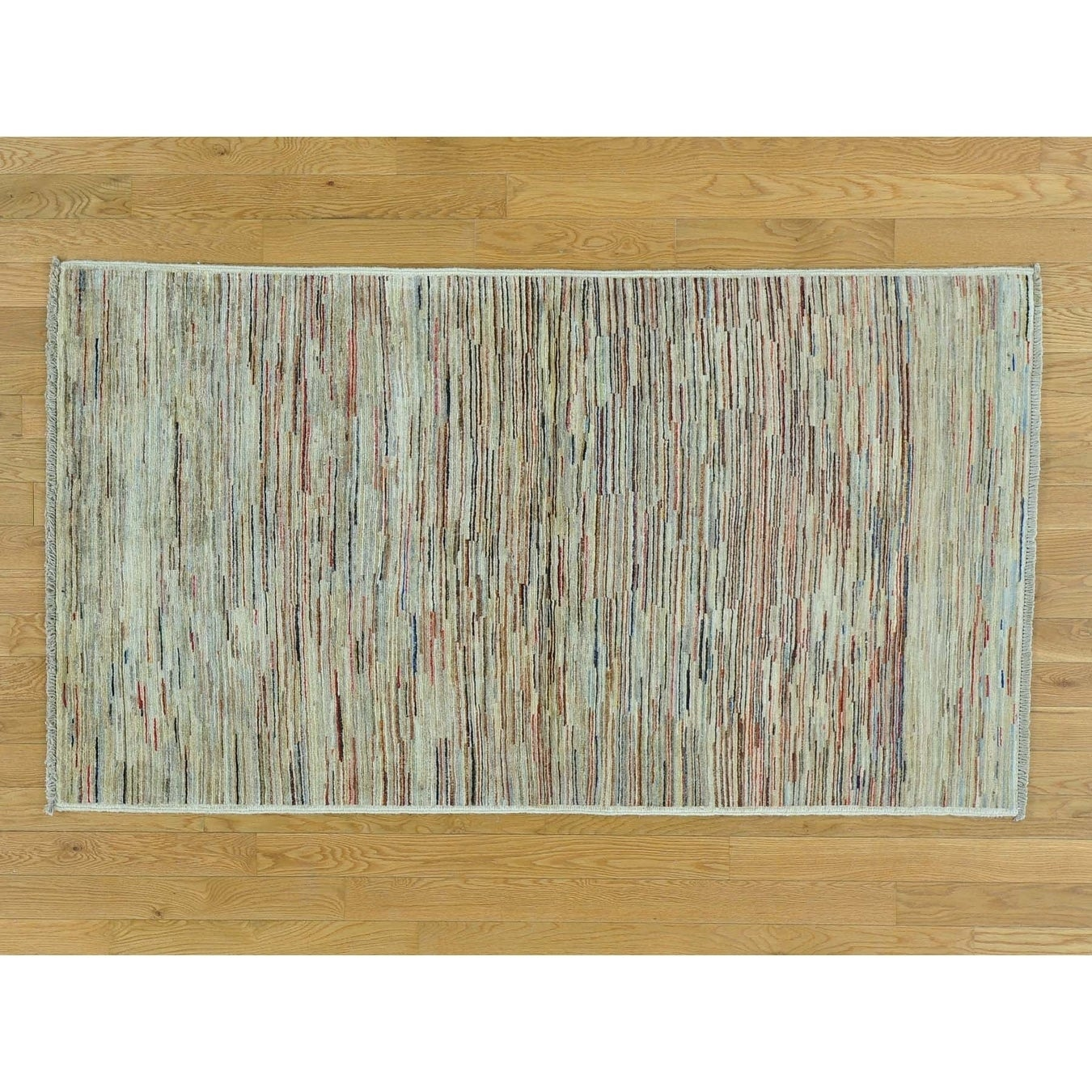 Hand Knotted Multicolored Modern & Contemporary with Wool Oriental Rug - 34 x 6