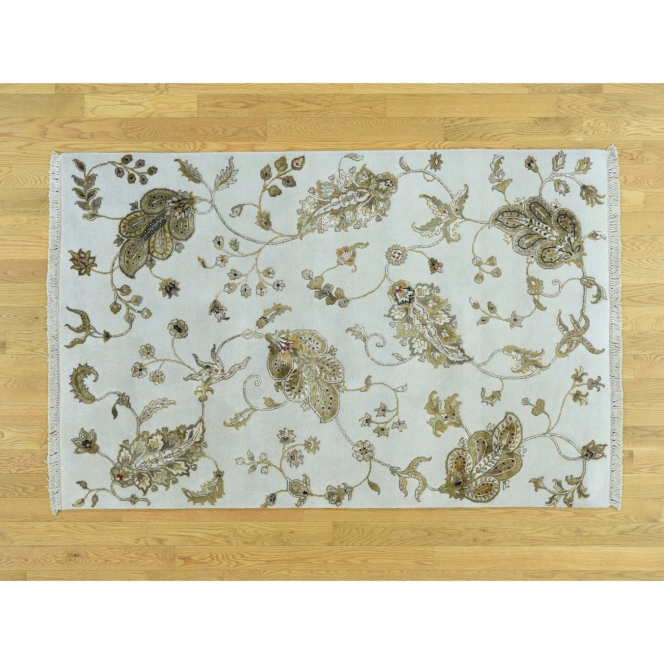Hand Knotted Ivory Modern & Contemporary with Wool & Silk Oriental Rug - 41 x 63