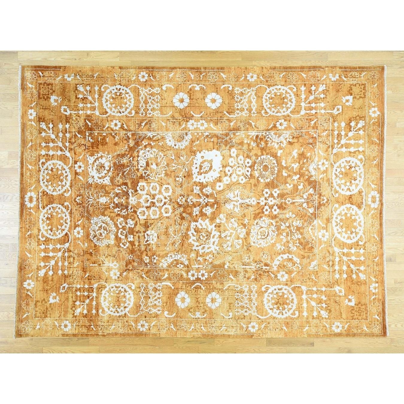 Hand Knotted Orange Fine Oriental with Wool & Silk Oriental Rug - 810 x 1110