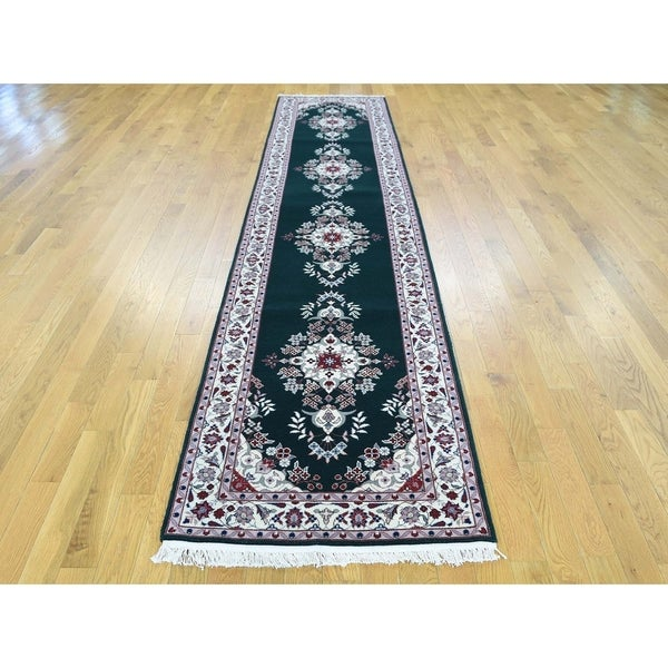 Hand Knotted Green Clearance with Wool & Silk Oriental Rug