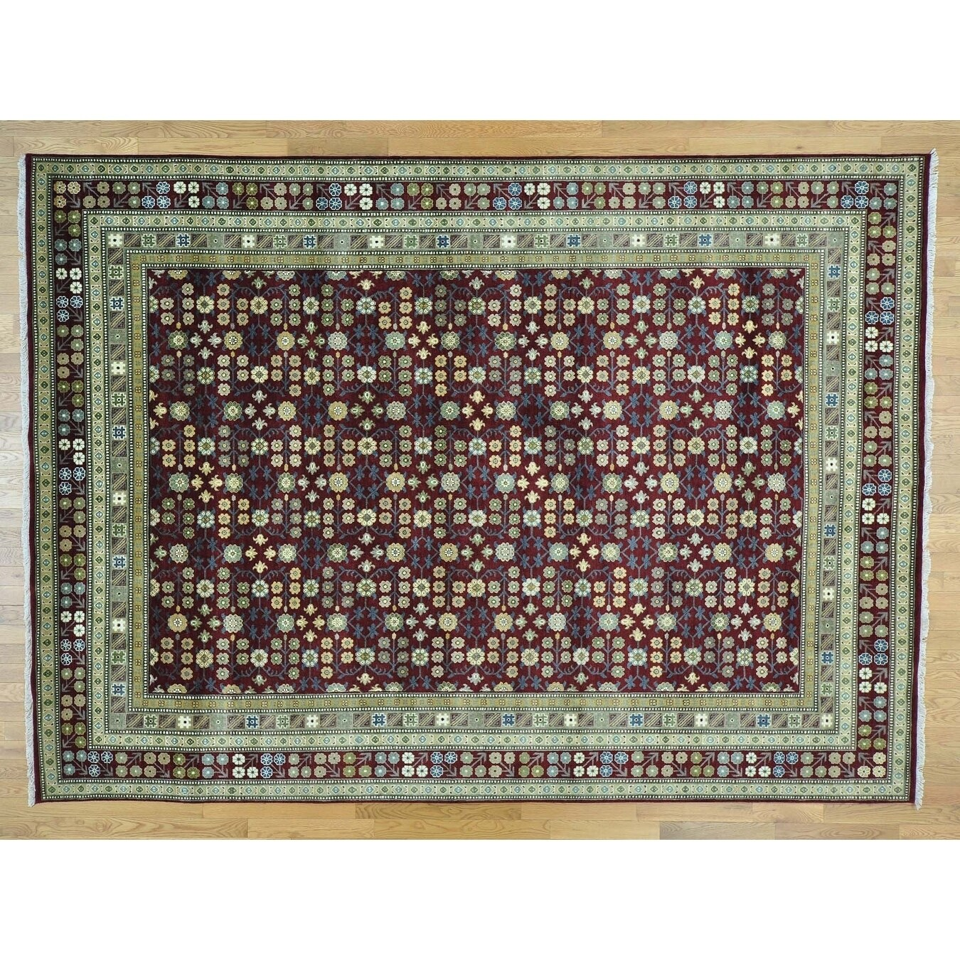Hand Knotted Red Khotan and Samarkand with Wool Oriental Rug - 9 x 126