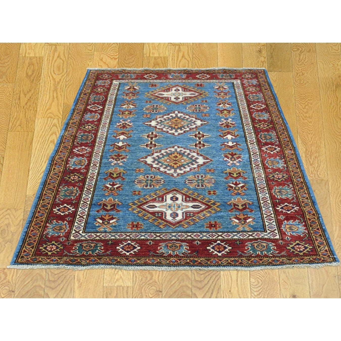 Hand Knotted Blue Kazak with Wool Oriental Rug - 33 x 49