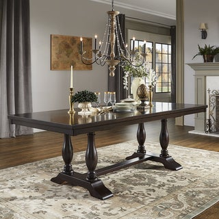 Louie Espresso Baluster Leg Trestle Base Extendable Dining Table by iNSPIRE Q Classic