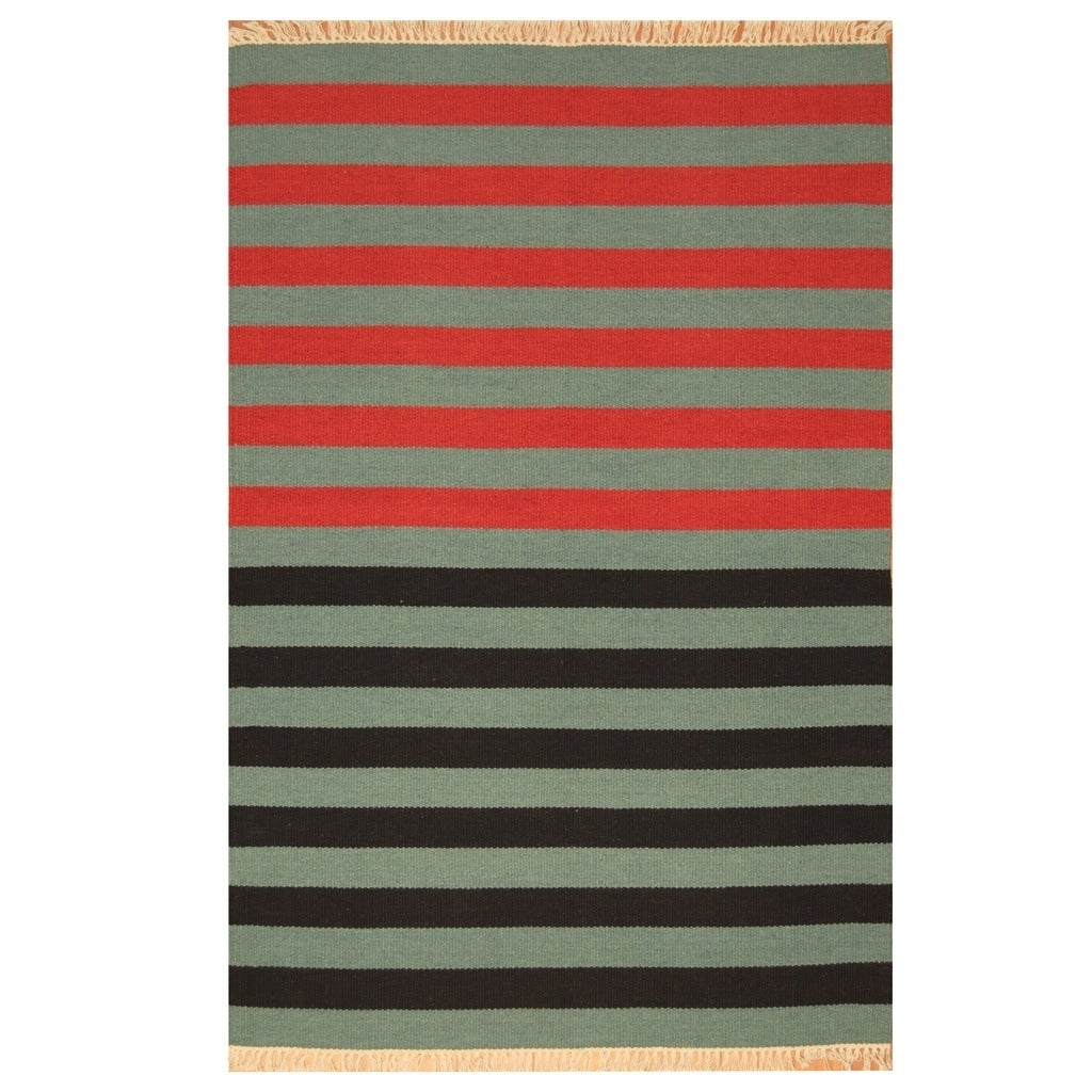 Handmade Herat Oriental Indo Hand-woven Tribal Wool Kilim (46 x 68) - 46 x 68 (Blue - 46 x 68)