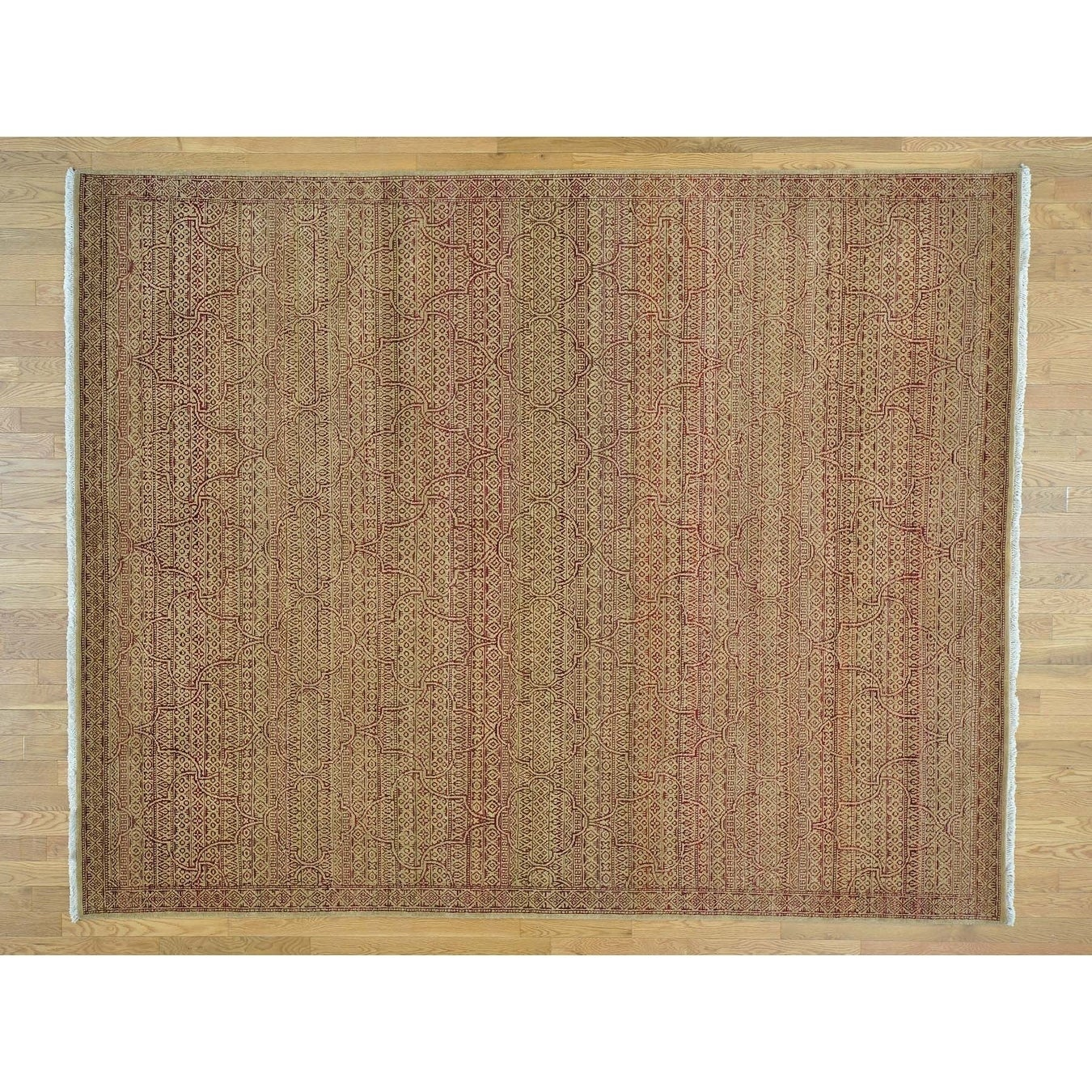 Hand Knotted Yellow Modern & Contemporary with Wool Oriental Rug - 81 x 101