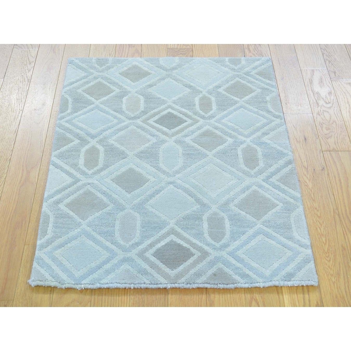 Hand Knotted Multicolored Modern & Contemporary with Wool & Silk Oriental Rug - 21 x 210