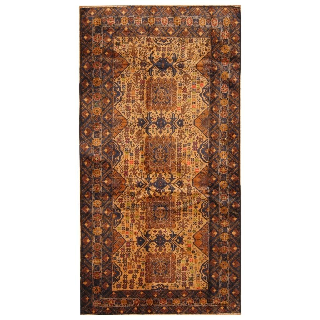 Handmade Herat Oriental Afghan Hand-knotted Tribal Semi-Antique Balouchi Wool Rug (43 x 81) - 43 x 81 (Beige - 43 x 81)