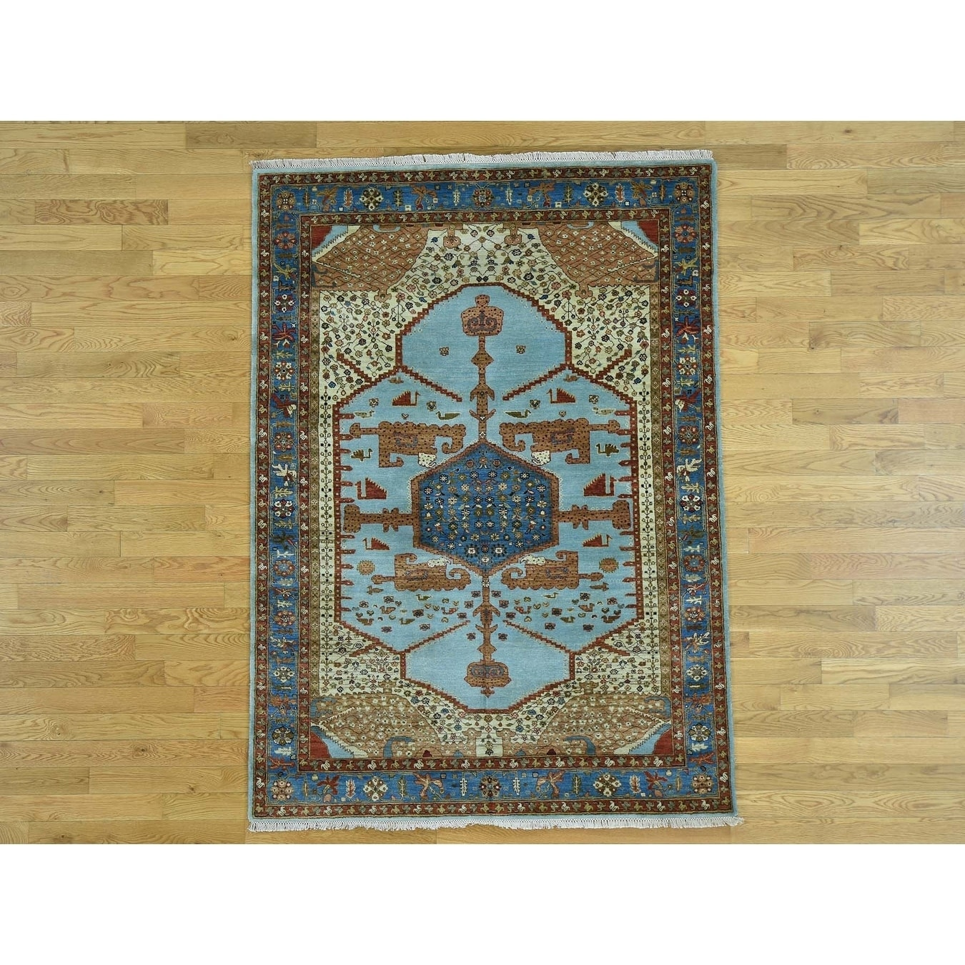 Hand Knotted Blue Heriz with Wool Oriental Rug - 5 x 7